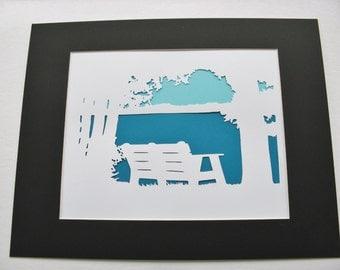Bench on Piseco Lake Adirondacks Wall Art Paper Cut Art Silhouette Lake Scene 14X11 matted white blue