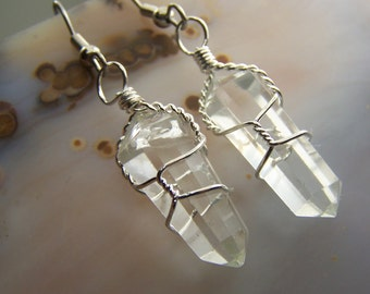 Quartz crystal earrings - clear quartz crstal point gemstone double terminated point wire wrap surgical stainless steel french hook wires