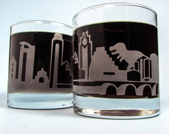 Austin Texas Trex Dinosaur Godzilla Monster Attack | Etched Glass | Whiskey Glass | Texas Gift | Funny Glass