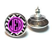 Monogram Earrings, Monogram Stud Earrings, Monogram Jewelry Black Chevron Pink (409)
