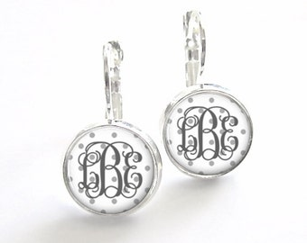 Two Tone Gray Monogram Earrings Leverback, Bridesmaid Gift, Monogram Jewelry, French Earrings (476)
