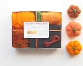 Needle Felting Kit, Felt Pumpkin Learn How to Needle Felt by Making Orange Pumpkins for Halloween Fall Home Decorating, Handmade DIY