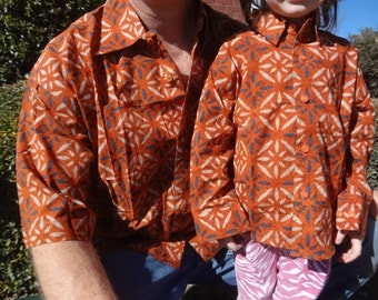 Father Son Matching - Toddler Boys Long Sleeved, Ethnic Indian Cotton Button Down Shirt - Burnt Orange - Saber 2979