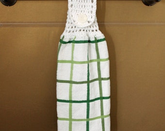 Shades of Green on White Crocheted Top Towel-KOW77