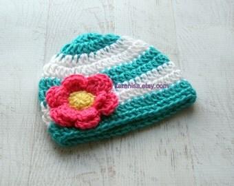 Crochet Baby Hat, Baby Girl Hat, Baby Winter Hat, Baby Hat, Newborn Beanie, Turquoise, White,  Hot Pink, Yellow,  READY TO SHIP, Newborn