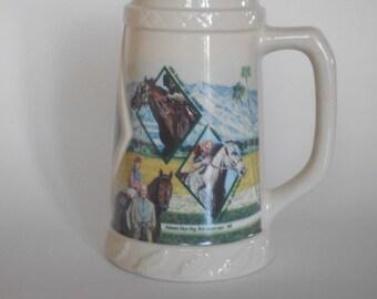 Oak Tree Horse Racing Stein Vintage 1994 Ceramic Mug 25th Anniversary Santa Anita Park Ceramic Tankard