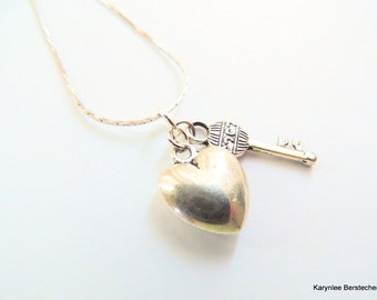 Heart and Key Pendant, Key to my Heart, Gift under 20, Handcrafted Jewelry, Valentine's Day, Charm Necklace, Minimalist Jewelry,