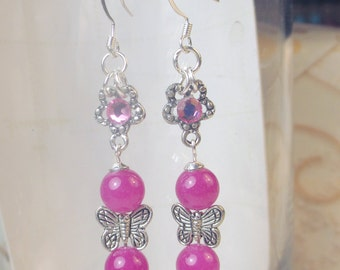 Hot Pink dyed Jade with butterfly charm and swarovski crystal on daisy charm earrings