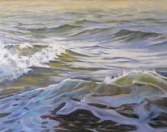 Ocean Shadow, Giclee Print on Canvas, Seascape Painting