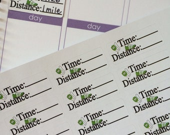 24 Distance and Miles Running Stickers, Fits Erin Condren Planner, Stickers, Exercise Stickers