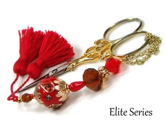 Scissor Fob Beaded Scissor Keeper Scissor Minder Elite Series Red Amber Brown Victorian Needlepoint Quilting Sewing Cross Stitch