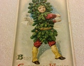 Sale today! Christmas Fantasy Child Elf Green Boy Sprite Tree Spirit with Snowball in Spats Antique Postcard John Winsch 1910 Blank