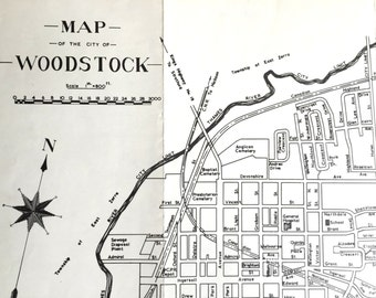 1960 Vintage Black-and-White Map of Woodstock, Ontario