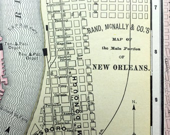 1900 Antique Map of New Orleans, Main Portion - Vintage Map - Lousiana