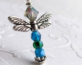 Dragonfly charm necklace with bail and clasp, Tierra Cast silver pewter wings, aqua blue, emerald green, pond garden bug, dragonfly necklace