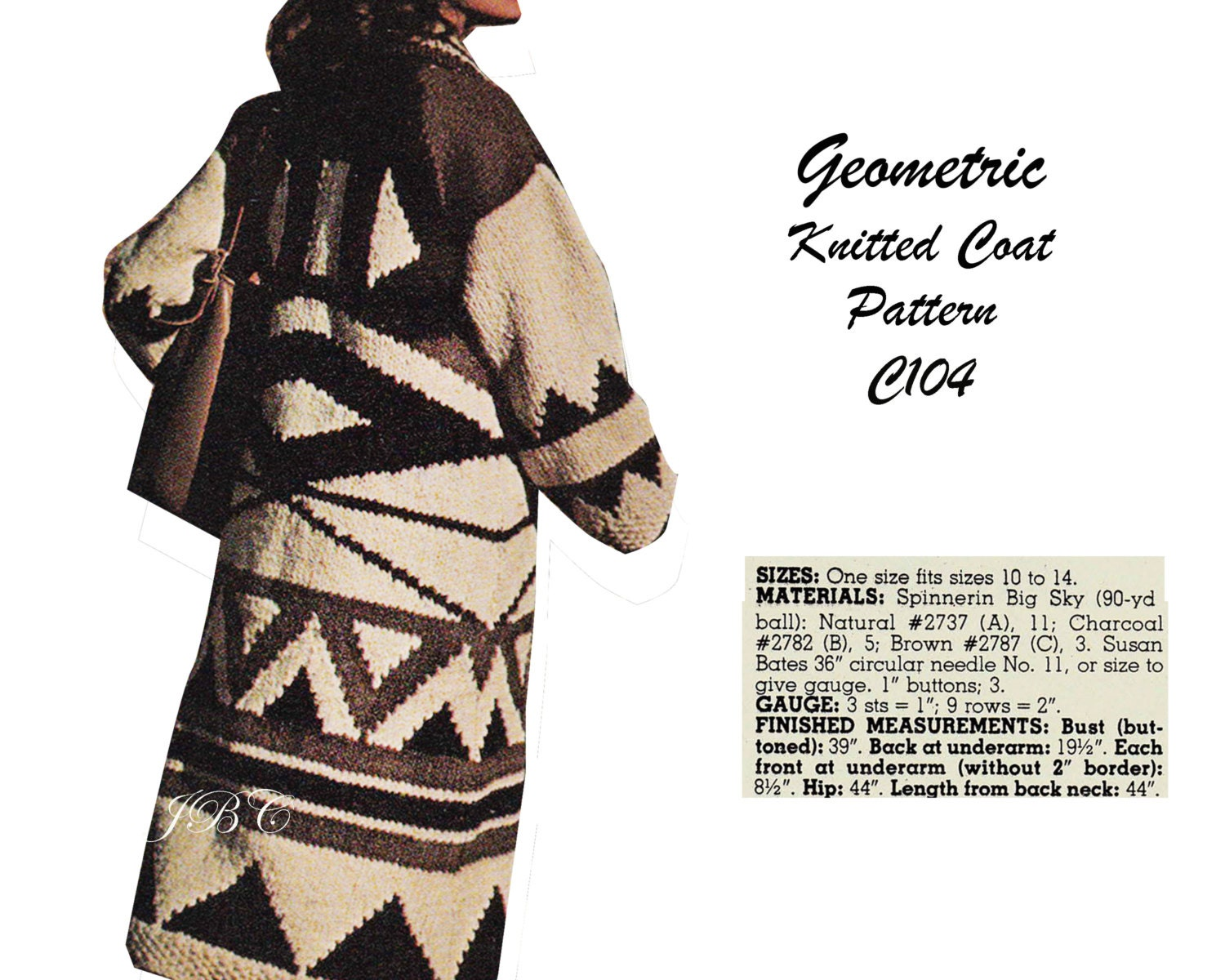 Geometric Knitted Coat Pattern Coat Knitting Pattern Vintage