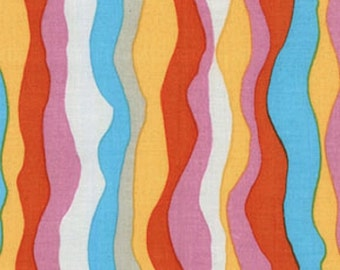 SALE - Brandon Mably, Waves, Pastel, Rowan Westminster, 100% Cotton Quilt Fabric, Stripe Fabric, Quilting Fabric