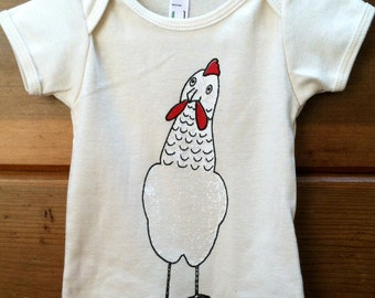 Funky Chicken Tee Organic Cotton Natural Baby One Piece or Kids T Shirt