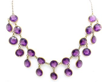Antique Victorian Edwardian festoon necklace c1900's Vintage Amethyst crystal glass collar