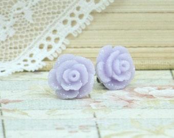Purple Rose Earrings Purple Flower Studs Rose Stud Earrings Hypoallergenic Purple Floral Studs
