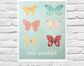Girls Wall Art - Guilded Group of Butterflies 8x10 - childrens art, kids room