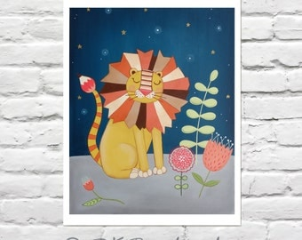 Childrens Art Print - Lion Nursery - Dream Lion 11x14 Print- jungle nursery, flowers, modern nursery art