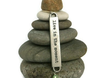 Live in the Moment Rock Cairn, Zen, Spiritual Small Gift, Wishing Stones, Hope, Believe, Balance, Enjoy, Stacked Stones, Do Your Thing