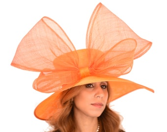 Orange Crossbill Hat for Kentucky Derby, Weddings (40 colours available)