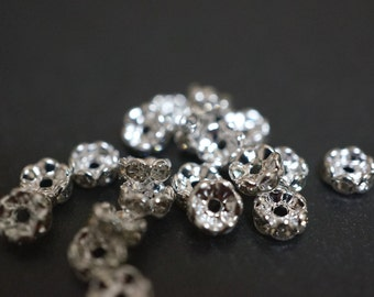 Silver Plated Rhinestone Spacers Curved Edges Rondelle Beads - 5mm - 20 pcs