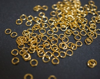 18K Gold Plated Nickel Free Round Open Jump Rings -4mm x 0.7mm thick - 100 pcs