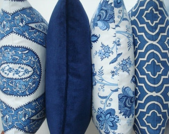 Choose Your AZURE COORDINATES -Both Sides--Decorative Pillow Cover .-Indigo Blue / Azure / Ivory Throw /Lumbar Pillow Cover