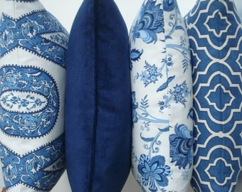 Choose Your AZURE CO-ORDINATES -Both Sides--Decorative Pillow Cover .-Indigo Blue / Azure / Ivory Throw /Lumbar Pillow Cover