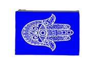 """Henna Hamsa Hand Blue White Pattern on a Pouch, Make Up, Cosmetic Case Travel Bag - 9"""" X 6"""" -  Large -  Made by artstudio54"""