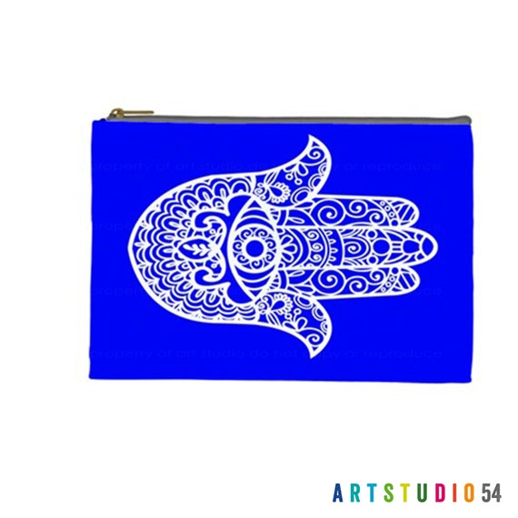 "Henna Hamsa Hand Blue White Pattern on a Pouch, Make Up, Cosmetic Case Travel Bag - 9"" X 6"" -  Large -  Made by artstudio54"