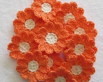 Small Crochet Springtime Flowers, 12 Handmade Appliques, Melon, Cream