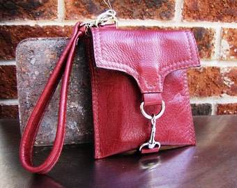 Dark red leather wristlet, small leather case, Custom to fit iPhone 6 or 7, credit cards wallet - Sun Dried Tomato Red