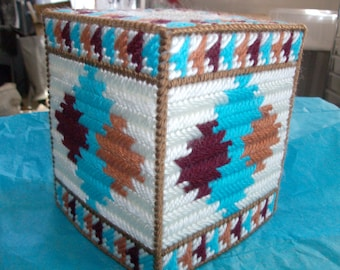 Needlepoint Aztec Design Tissue Box Cover-Needlepoint Southwest Tissue Box Cover-Plastic Canvas Native American Style Tissue Box Cover