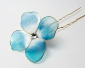 Resin Flower Kanzashi, Blue Turquoise Hydrangea, Bridal, Floral Hair Accessory, Pin, Japanese Geisha, Maiko, Wedding, Ajisai