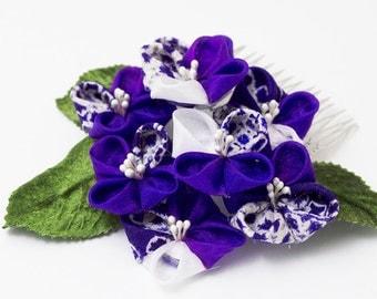 Ajisai Tsumami Kanzashi, Maiko, Hair Comb, Hydrangea, Hair Accessory, Midnight Purple, white shibori, Repurposed Kimono, leaves