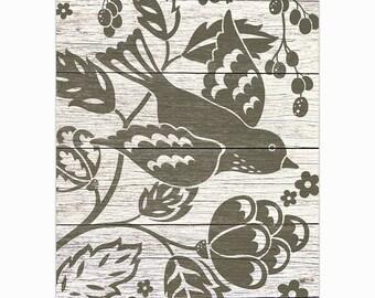 Flying Bird and Flowers Art Print 8 X 10