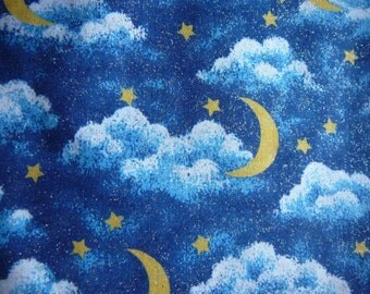 Destash --- Cosmic Cotton Fabric - Blue Skies with Clouds,Moon & Stars - 2.5 yds