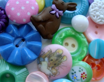Vintage Buttons Happy Easter Mixed Lot 27pcs Lot 525