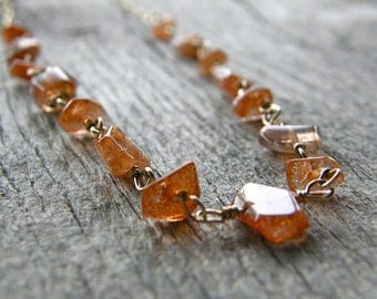 Sunstone and Gold Chain Necklace, Gemstone Nugget Wire Wrapped Necklace