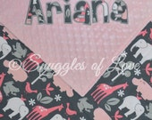 Baby Girl Blanket - Personalized Zoo Animals and Minky Dot - Pink and Gray Blanket - PERSONALIZED - Zoology in Bloom