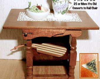 Gothic Style Hall Chair Converts to Table for Dollhouse 1/12 Scale