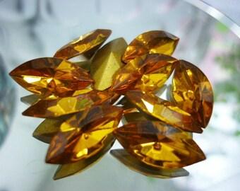 8 Stunning Navette Topaz Swarovski Crystals  15mm x 7mm