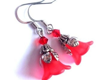 Lucite Flower Earrings, Red Earrings, Art Nouveau, Antique Silver, Vintage Earrings, Delicate, My Julie Jewels