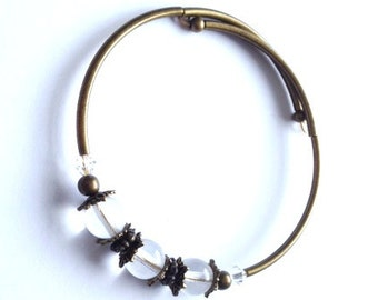 CLEARANCE SALE-Czech Crystal Clear Glass and Antique Brass Memory Wire Bangle Bracelet with Swarovski Austrian Crystals