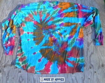 Double Turquoise Spiral Tie Dye Longsleeve T-Shirt (Gildan Size 3XL) (One of a Kind)