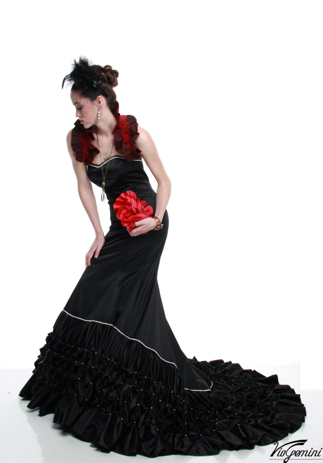Gothic Wedding Dress Evening Gown Red Carpet Gown by VioGemini